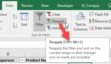 Reapply Filters in Excel Keyboard Shorcut