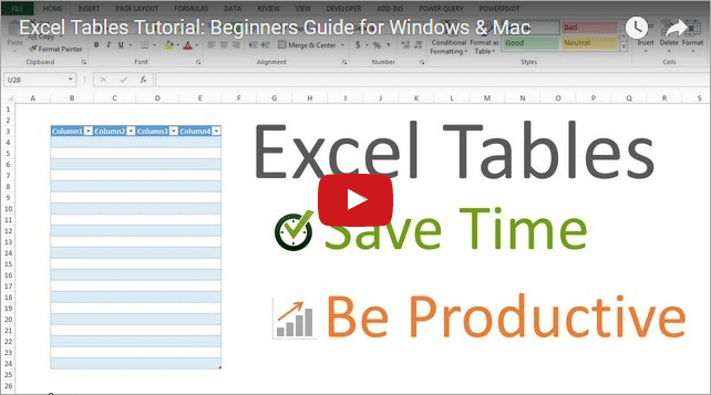 Excel Tables Tutorial Video - Beginners Guide for Windows