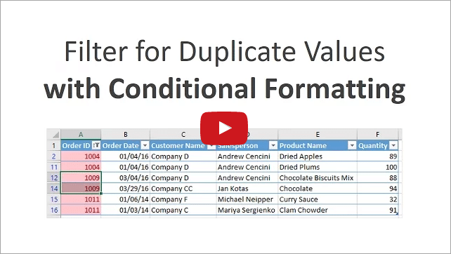 How to Filter for Duplicates with Conditional Formatting