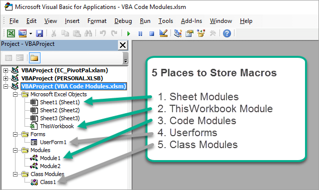 5 Modules to Store VBA Macro Code in a Project Workbook2