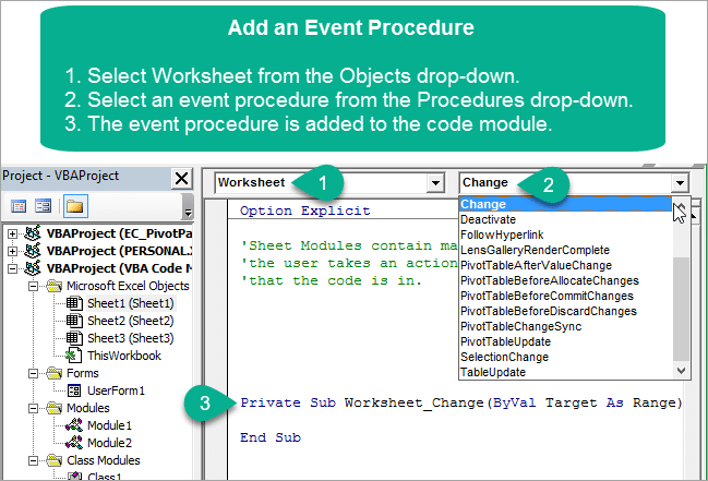 Vba Code Modules Event Procedures For Sheet Thisworkbook. Add A Vba Event Procedure To The Sheet Code Module In Vb Editor. Worksheet. Worksheetfunction Vs Application At Clickcart.co