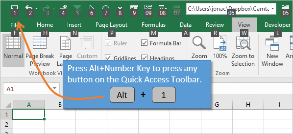 Alt Number Key for Keyboard Shortcuts for the Quick Access Toolbar