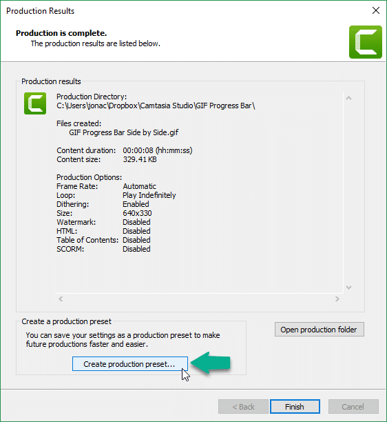 Create production preset for GIF in Camtasia