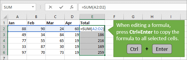 Ctrl Enter to Copy Excel Formula or Value to All Selected Cells