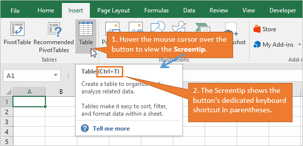 Hover the Ribbon Button to See Excel Keyboard Shortcut in Screentip