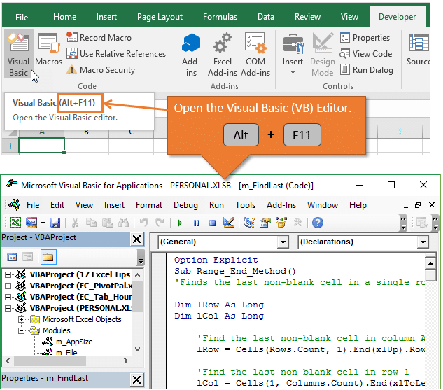 Open the Visual Basic Editor - Alt F11