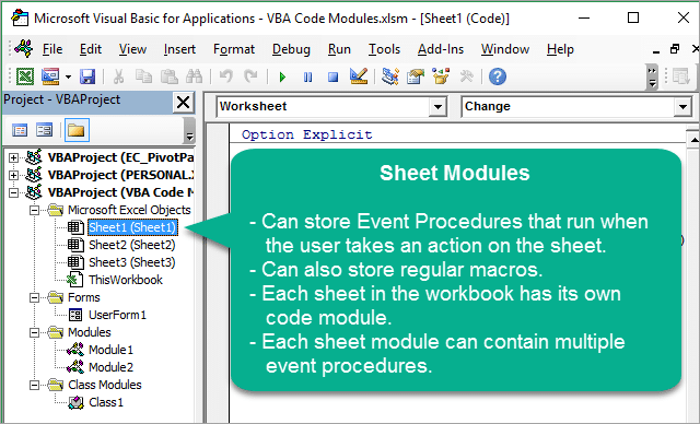 Overview of Sheet Module for VBA Macros in VB Editor