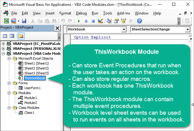 Vba Code Modules Event Procedures For Sheet Thisworkbook. Overview Of Thisworkbook Module For Vba Macros In Vb Editor1. Worksheet. Worksheetfunction Vs Application At Clickcart.co