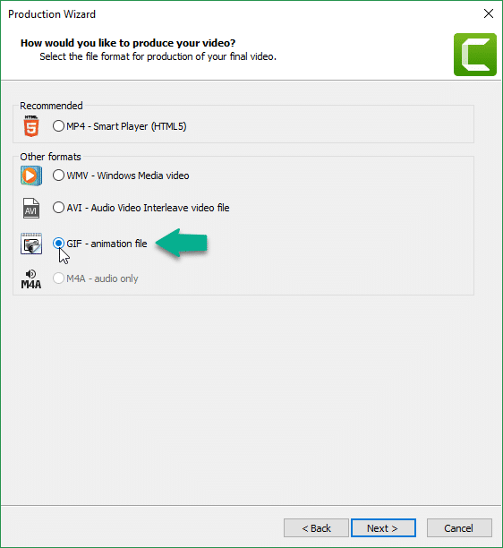 Step 4 - Create GIF in Camtasia - GIF animation file -GIF Progress Bar