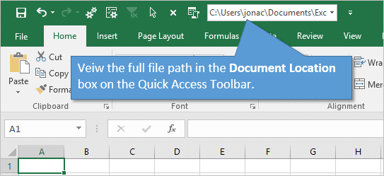 View Document Location in Quick Access Toolbar - Excel File Path
