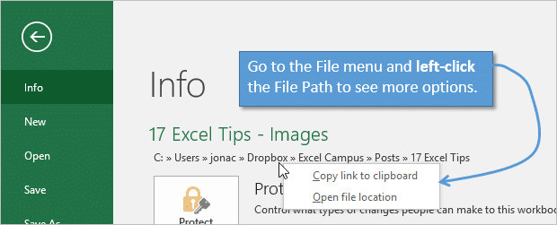 View File Path and Copy to Clip Board Open Folder Options on Excel File Menu