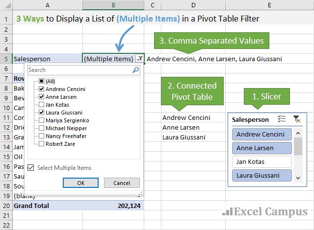 3 ways to display a list of Multiple Items in a Pivot Table Filter