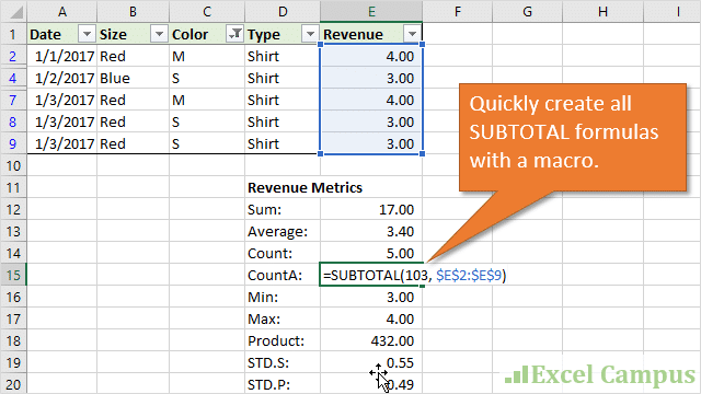 The SUBTOTAL Metrics Macro - Create Summary Table of All Function Types