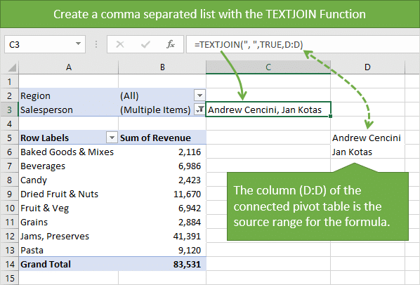 Create comma separated list of filter items with the TEXTJOIN function