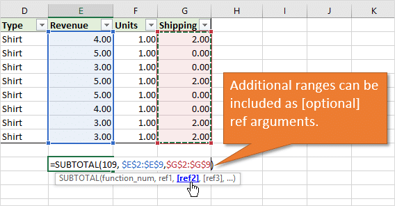 Excel SUBTOTAL Function Additional Ref Ranges