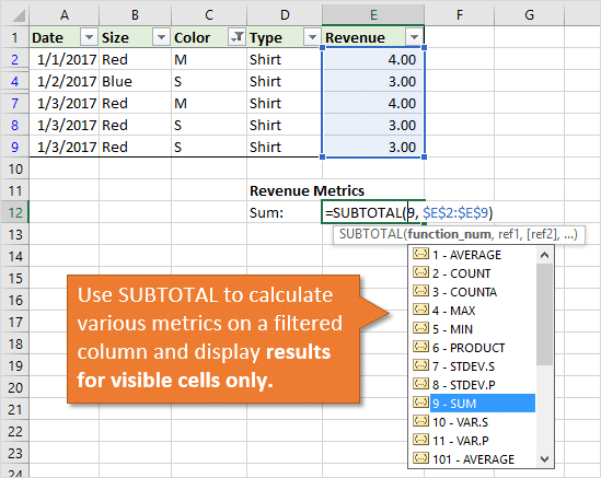 Excel SUBTOTAL Function Calculates Metrics on Visible Cells of Filtered Range