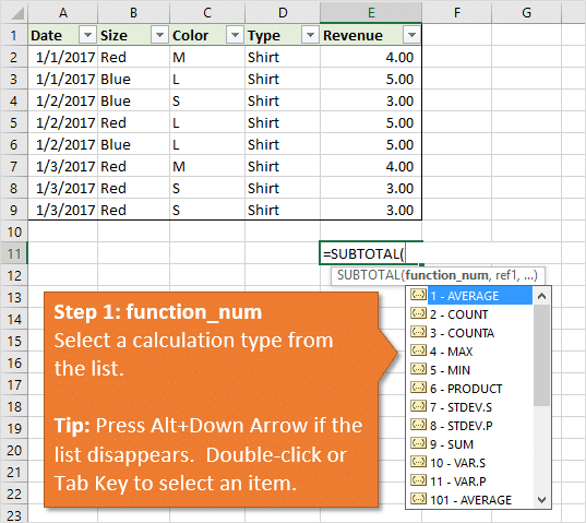 Excel SUBTOTAL Function Step 1 Function_Num Argument for Calculation Type