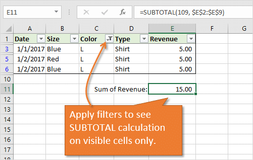 SUBTOTAL Apply Filters to View Calculation on Visible Cells Only