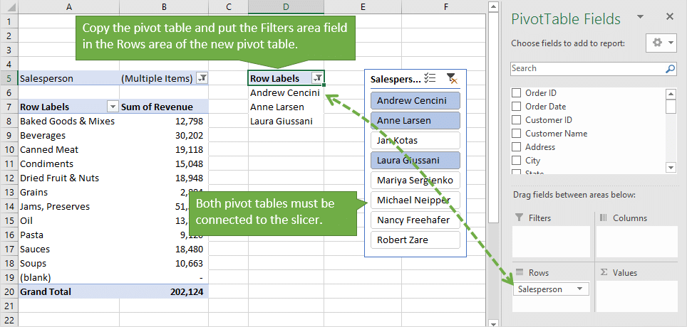 Solution 2 - Copy the pivot table and put the filters field in the rows area