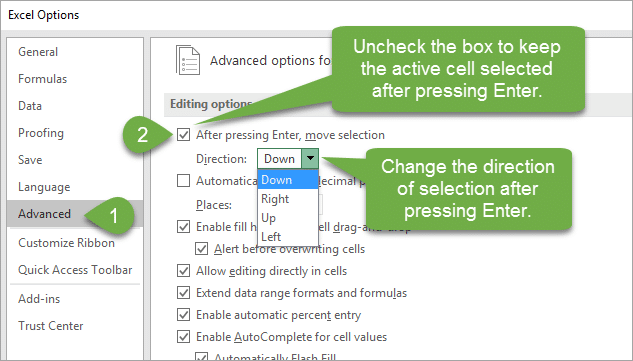 Excel Options for After pressing Enter move selection direction