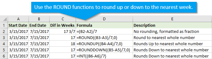 Round functions to round to nearest week number in Excel