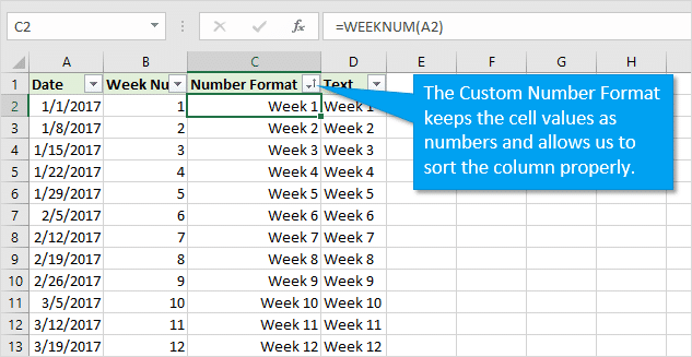 Sorting Week Numbers with Custom Number Format