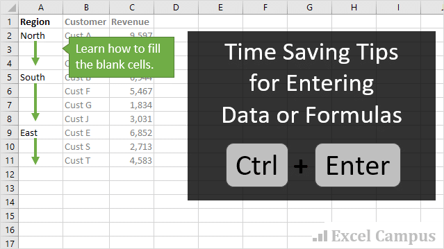 Time Saving Tips for Entering Formulas or Data in Excel with Ctrl Enter
