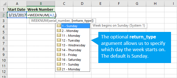 WEEKNUM return_type Argument to Specify Start Day of Week