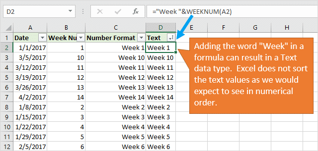 Week Number stored as text does not sort properly