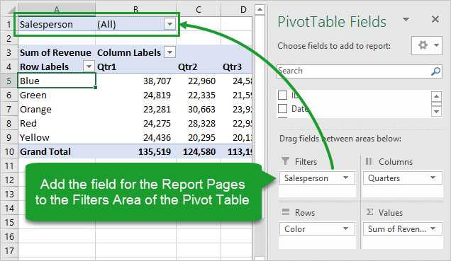 Add Field for Report Pages to Filters Area of Pivot Table