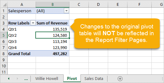Changes to the Original Pivot Table will NOT Change Show Report Filter Pages