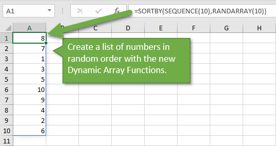 Create List of Numbers in Random Order with Dynamic Array Functions in Excel