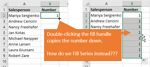 Double Clicking the Fill Handle Copies Numbers Down