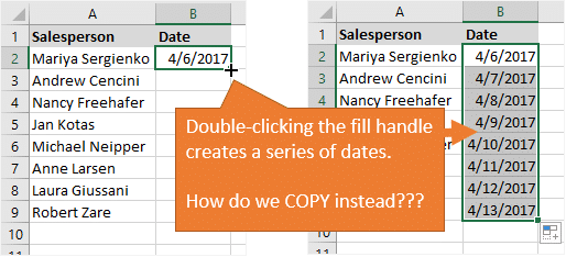Double Clicking the Fill Handle Creates Series of Dates