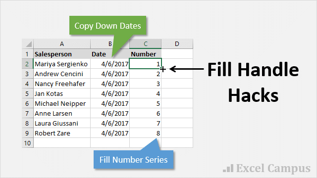 Copy Dates & Fill Series of Numbers with the Fill Handle in