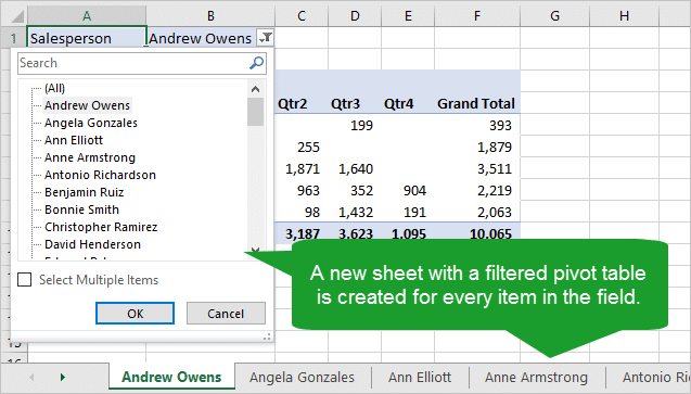Results of Show Report Filter Pages - New Sheet with Filtered Pivot Table