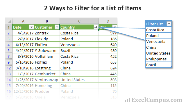 2 Ways to Filter List of Items in Excel 640x360