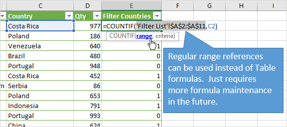 COUNTIF to Filter for List of Items with Regular Range References