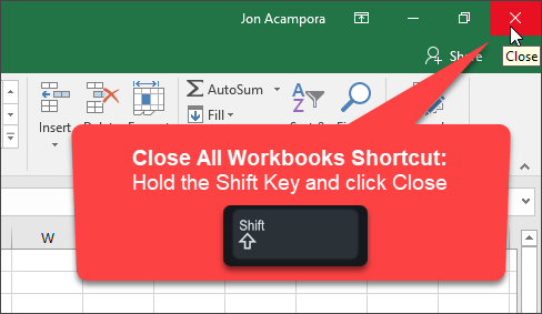 Close All Excel Workooks Shortcut Shift Key Close Button