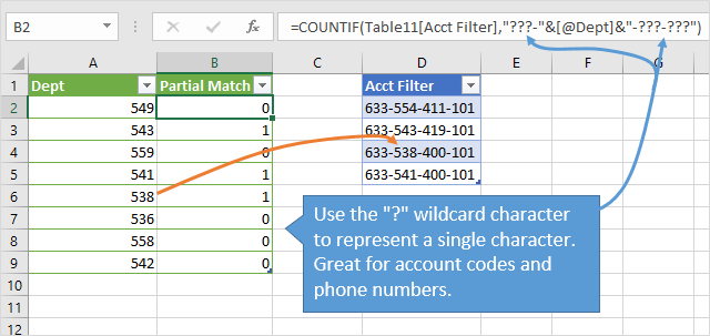 Filter for a List of Partial Matches - Wildcard Single Character COUNTIF Excel