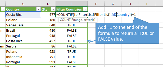Return a Boolean Value with COUNTIF instead of Numbers