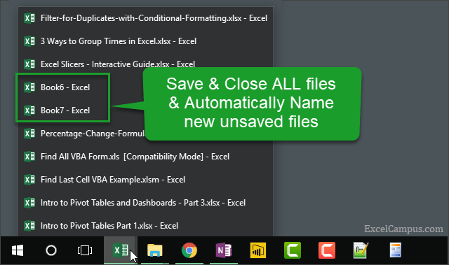 Save and Close All Files and Auto Name New Files