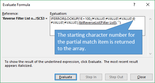 SEARCH Returns Starting Character Number to the Array - Evaluate Formula Window