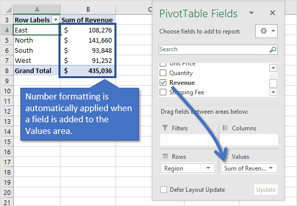 Number Formatting Automatically Applied Field Added to Values Area