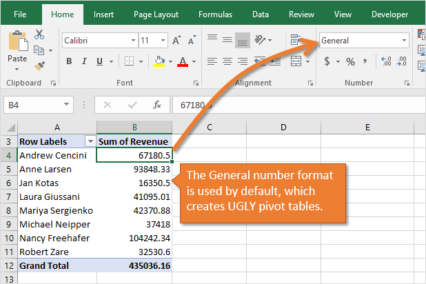Pivot Table General Formatting Used by Default