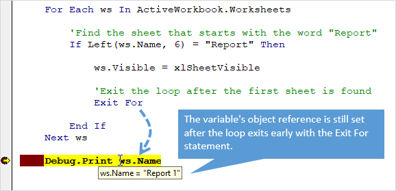 Variable Reference Is Not Reset When VBA For Next Loop Exit Early