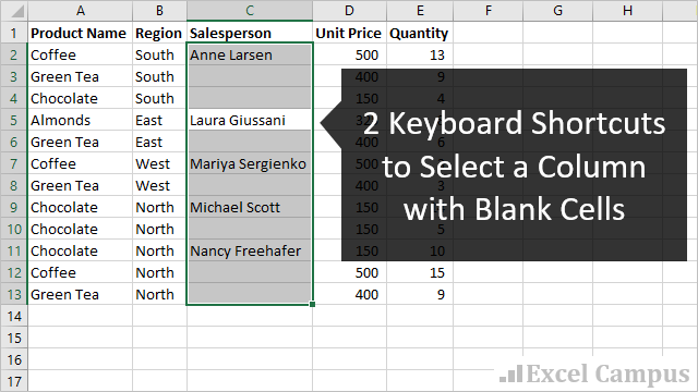 2 Keyboard Shortcuts to Select Column with Blank Cells 640