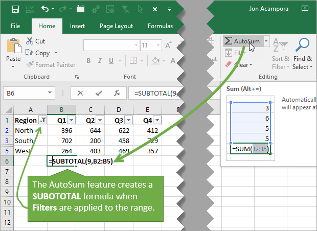 AutoSum Create SUBTOTAL Formula with Filters Applied