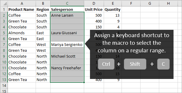 Select Column of Regular Range with Macro Keyboard Shortcut