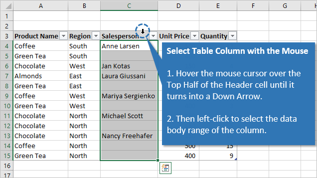 Select Table Column with the Mouse